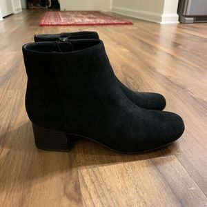Black Suede Leather Booties